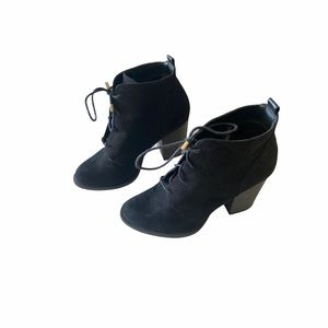 Call It Spring Black Tie Up Ankle Boots 8
